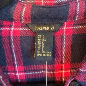 Forever 21 Dresses - Forever 21 Flannel Navy, Red & Cream Shirt Dress